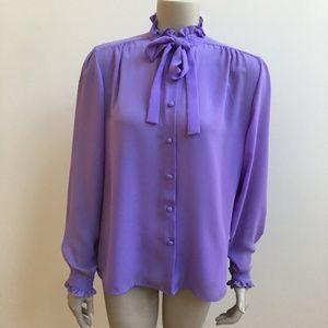 Vintage Purple Ruffle Collar Button Down